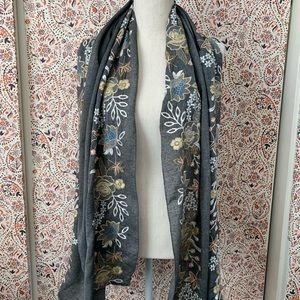 Chambray floral embroidered scarf/wrap